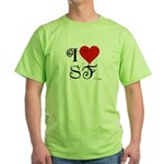 I Love SF-NY Loves You Green T-Shirt