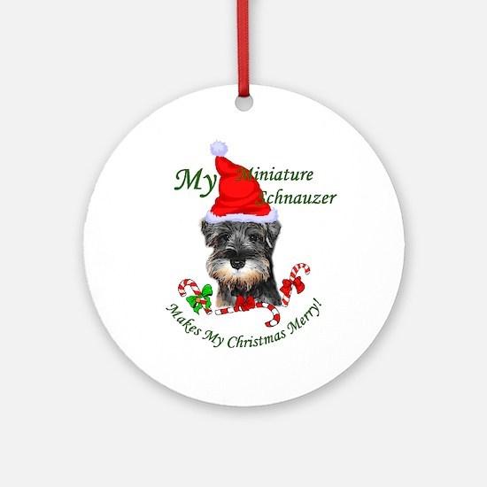 Miniature Schnauzer Christmas Round Ornament
