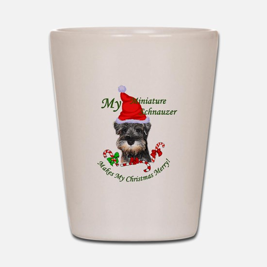 Miniature Schnauzer Christmas Shot Glass