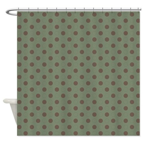 Green With Brown Dots Shower Curtain By Marlodeedesignsshowercurtains