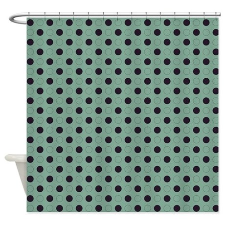 Green With Dark Purple Dots Shower Curtain By
