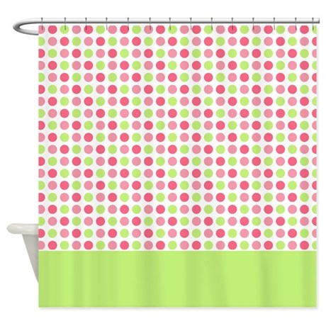 pink green dots shower curtain by marlodeedesignsshowercurtains. Black Bedroom Furniture Sets. Home Design Ideas