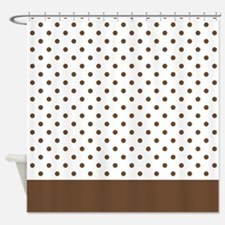 White with Brown Dots 2 Shower Curtain