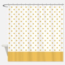 White with Golden Dots 2 Shower Curtain