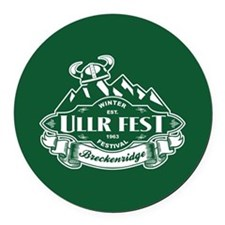 Ullr Fest Mountains Green Round Car Magnet