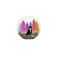Tuxedo Cat with Foxglove Mini Button