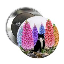 "Tuxedo Cat with Foxglove 2.25"" Button"