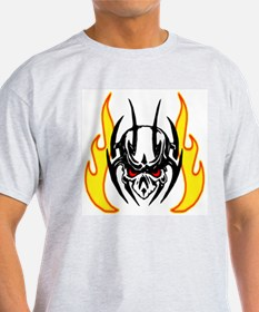 tribal skull with flame Ash Grey T-Shirt