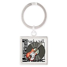 Vintage Guitar Square Keychain