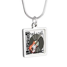 Vintage Guitar Silver Square Necklace