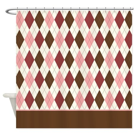 pink brown argyle d2 shower curtain by