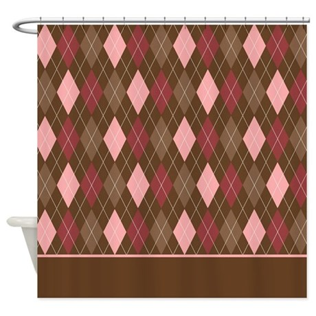 pink brown argyle d4 shower curtain by marlodeedesignsshowercurtains. Black Bedroom Furniture Sets. Home Design Ideas