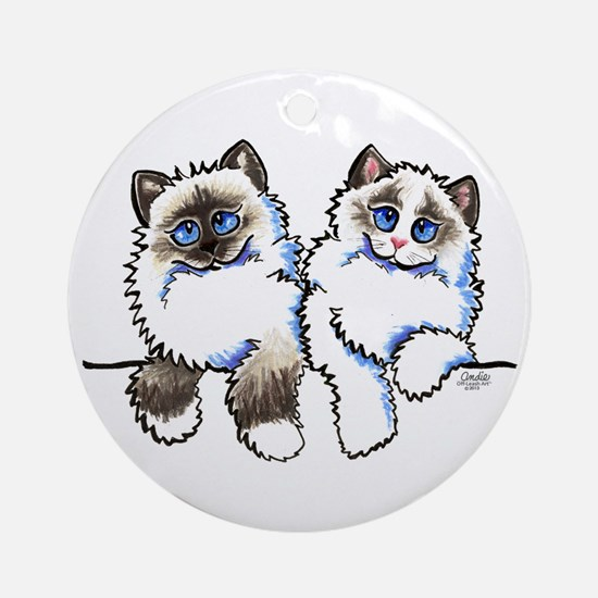 Ragdolls Pair Off-Leash Art™ Ornament (Round)