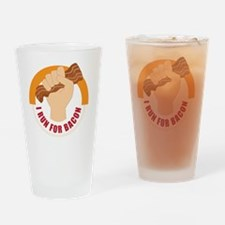 I Run For Bacon Drinking Glass