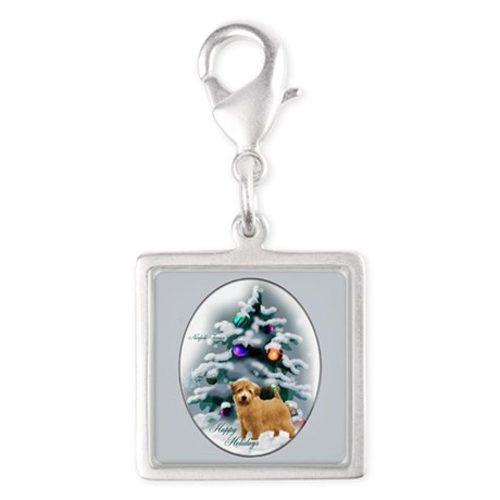 Norfolk Terrier Silver Square Charm