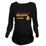 Belgium Dark Long Sleeve Maternity T-Shirt