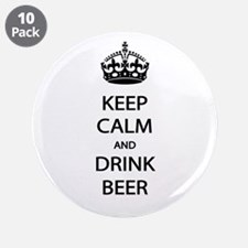 """Keep Calm Drink Beer 3.5"""" Button (10 pack)"""