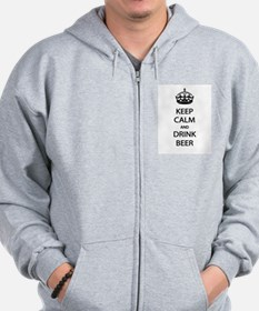 Keep Calm Drink Beer Zip Hoodie