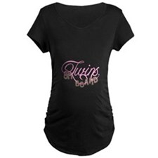 Twins on Board in Pink Maternity T-Shirt
