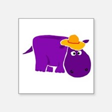 Funny Purple Hippo in Orange Hat Sticker