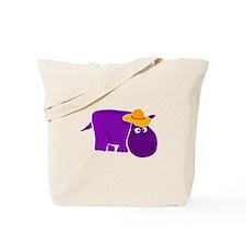Funny Purple Hippo in Orange Hat Tote Bag