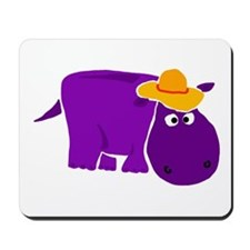 Funny Purple Hippo in Orange Hat Mousepad