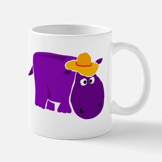 Funny Purple Hippo in Orange Hat Mug