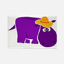 Funny Purple Hippo in Orange Hat Rectangle Magnet