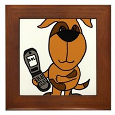 Funny Brown Puppy Dog Texting on Phone Framed Tile