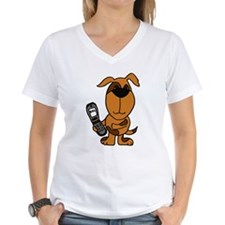 Funny Brown Puppy Dog Texting on Phone T-Shirt
