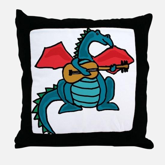 Dragon Playing Guitar Throw Pillow
