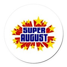 August the Super Hero Round Car Magnet