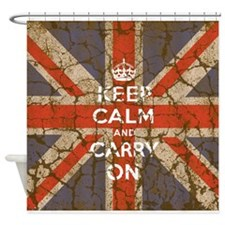 UK Flag with Keep Calm and Carry On Shower Curtain
