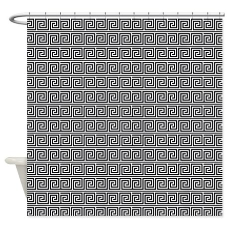 Black And White Greek Key Pattern Shower Curtain By