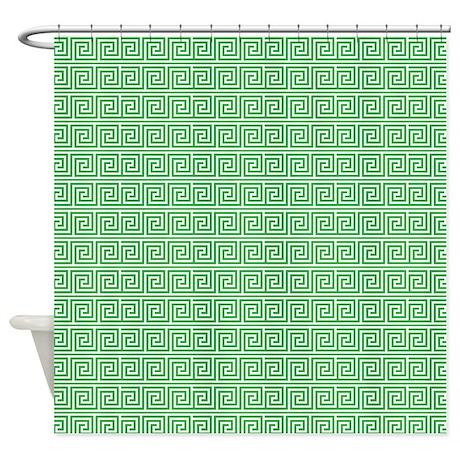 Emerald Green Greek Key Pattern Shower Curtain By Mcornwallshop