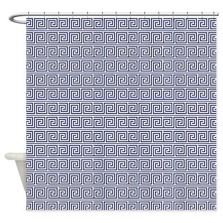 Navy Blue Greek Key Pattern Shower Curtain By Mcornwallshop