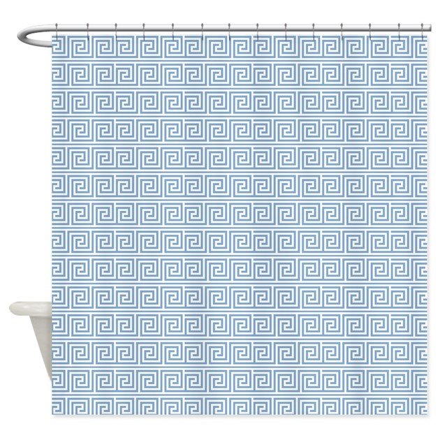 Periwinkle Greek Key Pattern Shower Curtain By Mcornwallshop