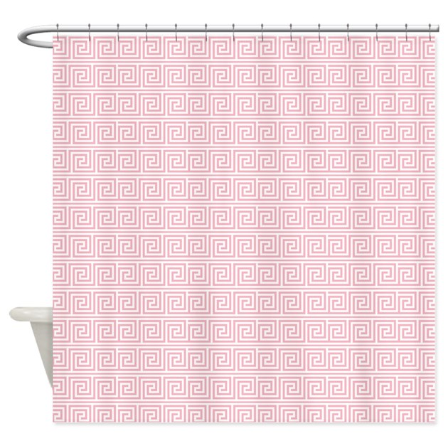 Blush Pink Greek Key Pattern Shower Curtain By Mcornwallshop