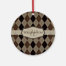 Brown Argyle Monogram Name Ornament (Round)