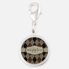 Brown Argyle Monogram Name Silver Round Charm