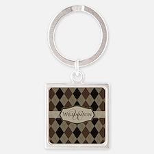 Brown Argyle Monogram Name Square Keychain