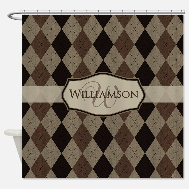 Brown Argyle Monogram Name Shower Curtain