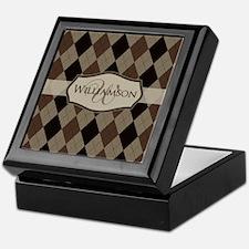 Brown Argyle Monogram Name Keepsake Box