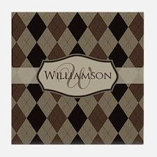 Brown Argyle Monogram Name Tile Coaster