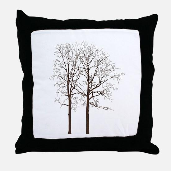 Brown Trees Throw Pillow