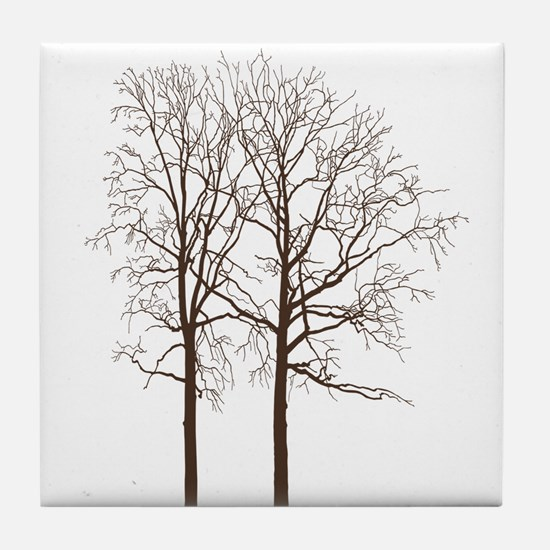 Brown Trees Tile Coaster