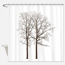Brown Trees Shower Curtain
