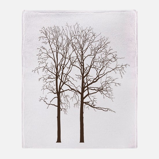 Brown Trees Throw Blanket