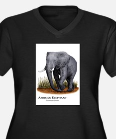 African Elephant Women's Plus Size V-Neck Dark T-S