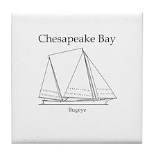 Bugeye Sailboat (line art) Tile Coaster